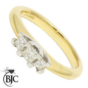 Bjc-18-Carats-or-Jaune-Diamant-0-35ct-Ct-Trilogie-TAILLE-L-Fiancailles