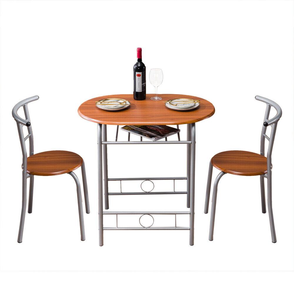 3pcs Set Dinner Table Desk& 2 PVC Chairs Metal Home Kitchen