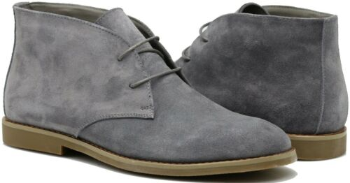 MEN WALLACE CHUKKA ANKLE BOOTS DESERT MARTIN GENUINE LEATHER 2 EYE LACE UP CO02