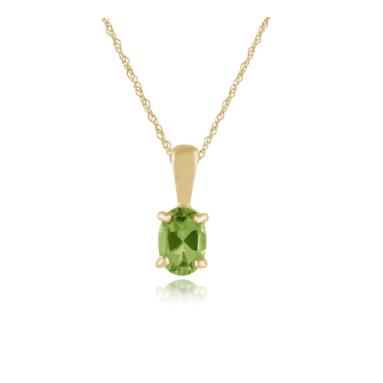 9ct Yellow gold 0.77ct Peridot Classic Single Stone Oval Pendant on Chain