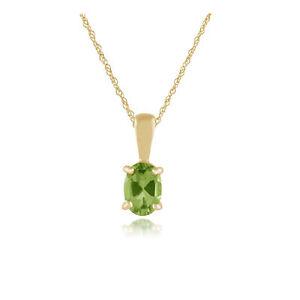 9Ct-Oro-Amarillo-0-77ct-Peridoto-Clasico-una-Piedra-Ovalado-Colgante-con-Cadena