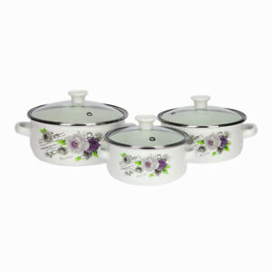 6-Pcs-Marmites-Emaille-Cuisine-Soupe-Set-Casseroles-Ragout-Poele-Blanc-et-Rose