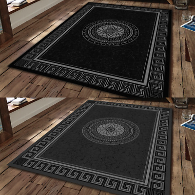 New black silver small extra large big huge size floor - Black living room rug ...