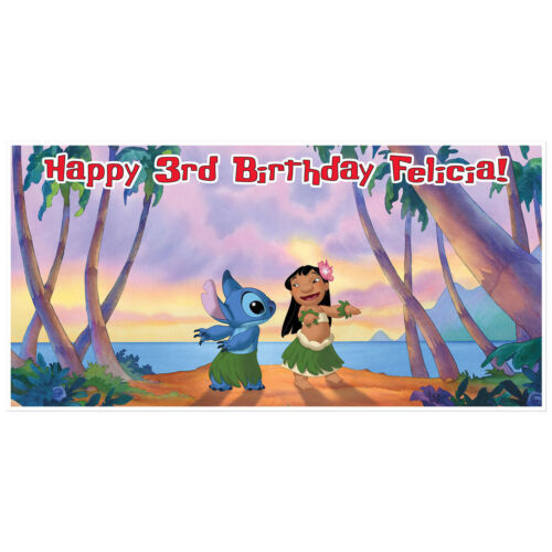 Lilo and Stitch Birthday Banner Custom Party Backdrop