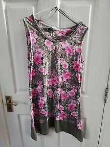 Esprit-a-m-amp-co-femme-tunique-rose-gris-floral-chemisier-Femme-Taille-10-Sans-manches-Perles