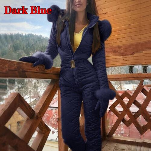 5 Color Sports Fur Collar Ski Snowsuit Tracksuits Hooded Cotton Coat Jumpsuits