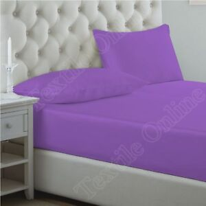 Image Is Loading Lilac Polycotton Plain Dyed Fitted Sheets Flat Sheets