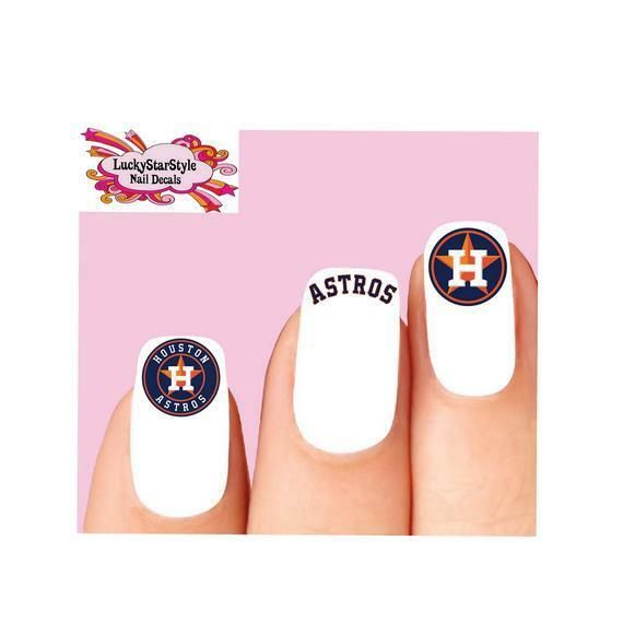 Waterslide Nail Decals Set Of 20 Houston Astros Baseball Orted Ebay