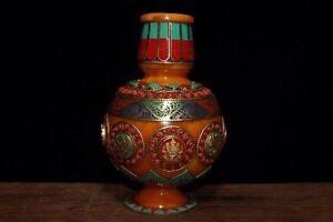 Chinese-Antique-Tibetan-hand-embedded-gemstone-beeswax-vase