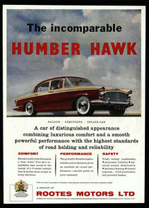 1958 rootes motors humber hawk red white car vintage ad for Pb motors rochester ny