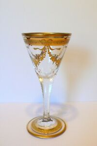 Antique-French-St-Louis-Gold-Bows-Fruits-Crystal-Wine-Glass