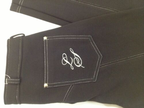 Legacy Ladies Contrast Jodhpurs Jean Style Black with contrast Silver Stitching