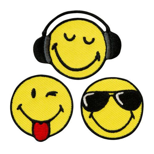 14538 Smiley World Cool 3er Set Flicken Emoji Applikation Aufbügeln Aufnähen