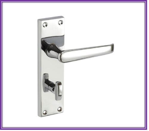 CHROME STRAIGHT Bathroom/WC Lever LOCK Door Handle - Privacy Lock D9