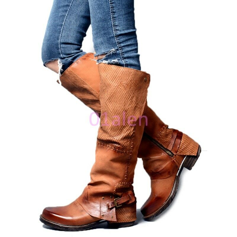 Womens Buckle Western Cowboy Knee Leather Boots Riding Shoes Punk black brown
