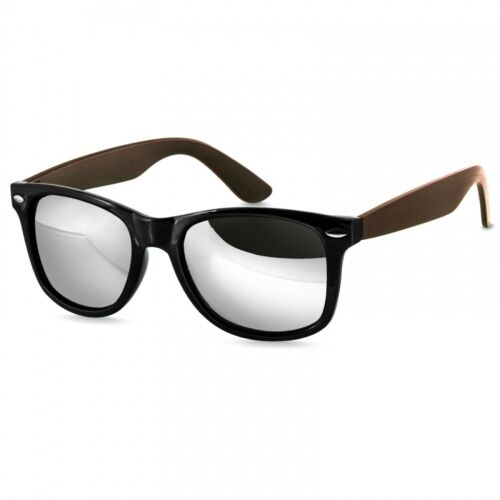 CASPAR SG031 Cool Retro Design Unisex Sunglasses Wood Effect Mirrored Lenses