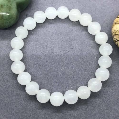 Selenite Crystal Healing Stone 8mm Mala Bracelet Spirituality Chakas Cuff Pray