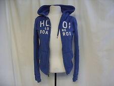 """Felpa con Cappuccio Donna Hollister taglia S, blu con logo, Busto 32-34"""", lunghezza 21"""" 7230"""
