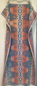 Vtg-Ralph-Lauren-Aztec-Southwest-Bath-Towel-Large-Geometric-Tribal-Blue-Pink-USA