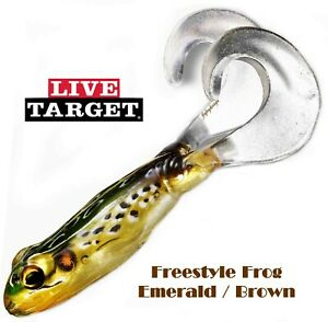 """Live Target Freestyle Frog 4"""" Injected Core Tech Soft Plastic Emerald/Brown Frog"""