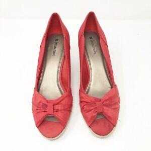 Naturalizer-Women-039-s-Size-10-Red-Satin-Heels-Wedge-Open-Toe-Peeps