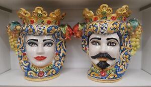 Teste Di Moro Caltagirone.Dettagli Su Coppia Di Teste Di Moro In Ceramica Di Caltagirone H 38 Cm