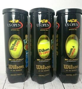 Lot-of-3-Can-WILSON-US-Open-Official-Ball-Extra-Duty-Tennis-Balls-NEW-SEALED