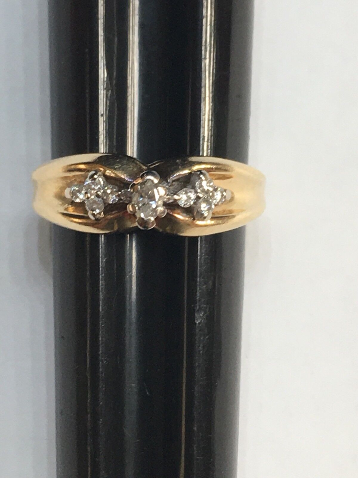 14k Diamond Ring 022 carat Marquise and Round Diamonds