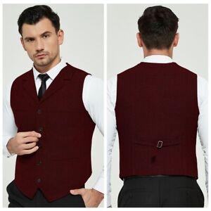 Mens-Waistcoat-Blended-Wool-Mix-Formal-Vest-Herringbone-Tweed-Vest-Jacket-Gilet