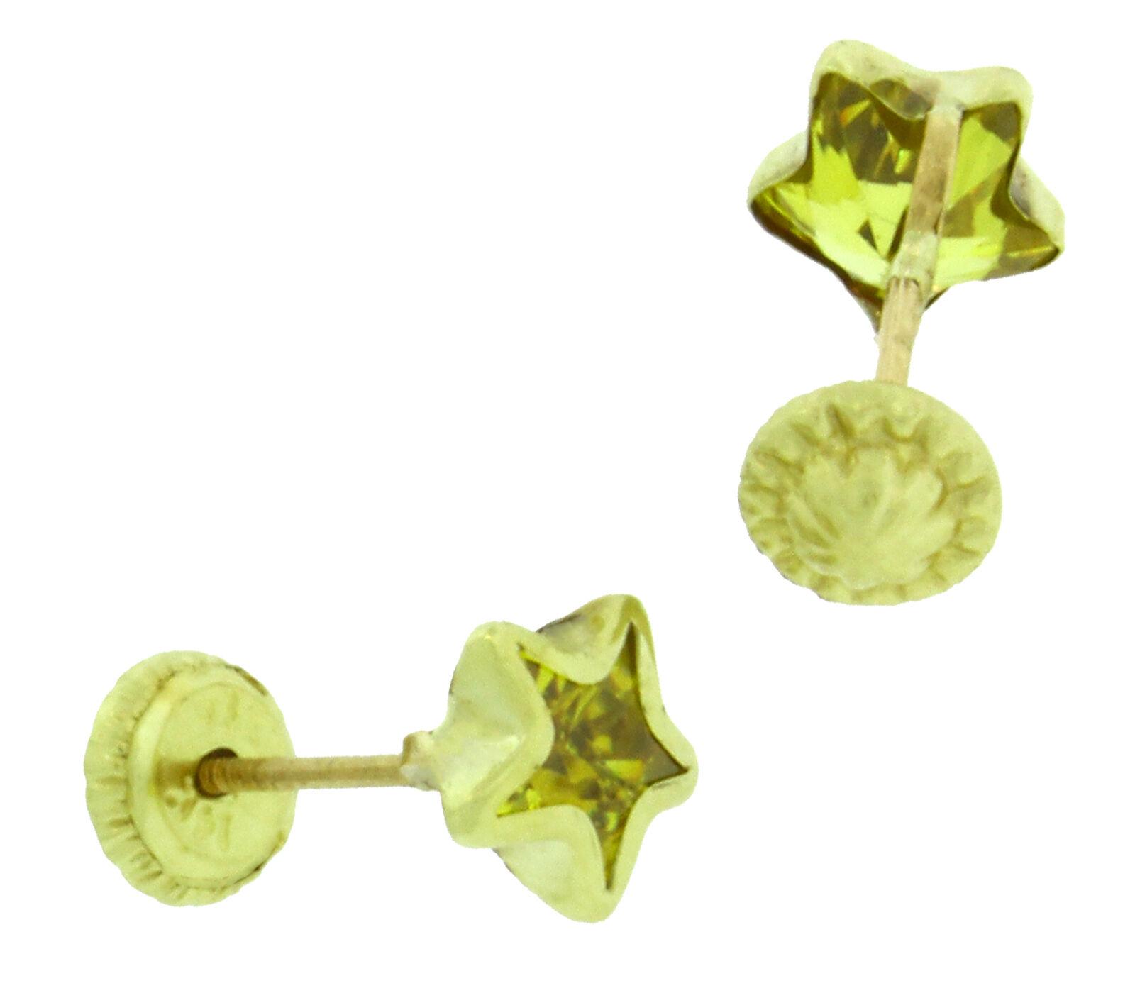 14K Solido oro Giallo a Forma di Stella Stella Stella Vite Posteriore 6 mm Zirconia Cubica b44a93