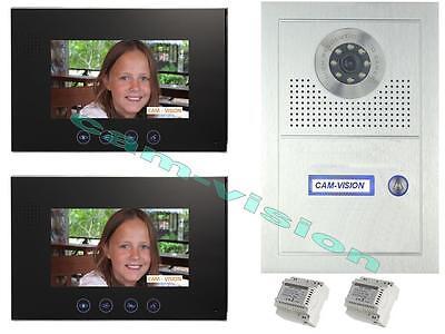 """VIDEO TÜRSPRECHANLAGE /2 x7"""" MONITORE / UNTERPUTZ -105° SONY-CCD Kamera"""