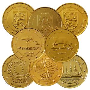 2 Euro Lettland 24 Karat Vergoldet Verschiedene Varianten