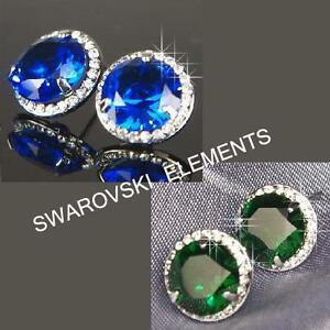 33046c3f5e2c 18K White Gold Plated Earrings made with Blue   Green Swarovski ...
