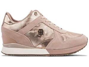be8ba218b Image is loading Tommy-Hilfiger-Suede-Metallic-Wedge-Sneaker-Women-039-
