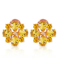 14K. Solid Gold French Clip Fine earrings w/ Natural Citrine Yellow Gemstone
