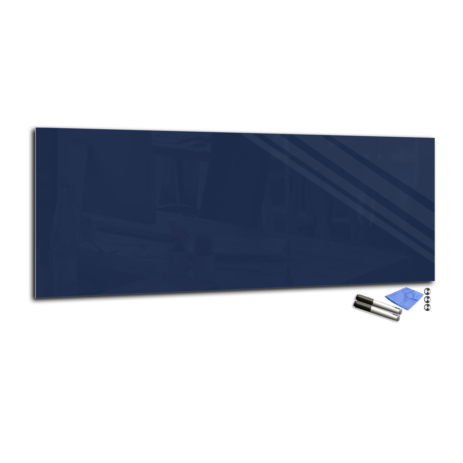 Magnetic Glass Markerboard – Temperot Glass Board T02 40x100cm dark navy Blau