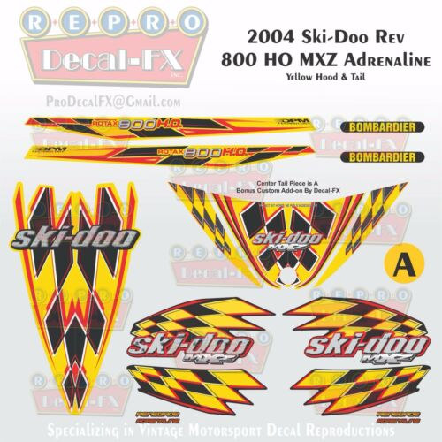 2004 Ski-doo MXZ800HO Yellow Hood /& Tail Rev Reproduction Vinyl Decal Set 16Pc