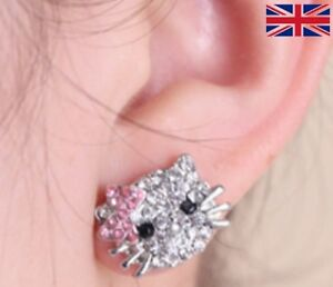 97763ff53 Image is loading Hello-Kitty-Stud-Silver-Diamante-Sparkle-Cat-Earrings-