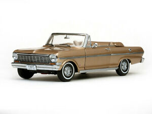 SUNSTAR-3975-3976-CHEVROLET-NOVA-CONVERTIBLE-model-cars-Tan-silver-1963-1-18th