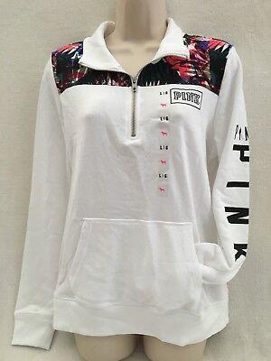 Victoria/'s Secret Pink Gray Marl White Quarter Zip Pullover Sweater S L *NIP