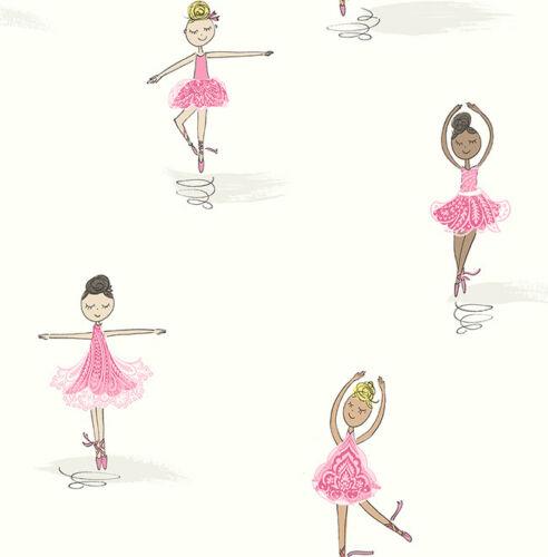 Rose Enfants Papier Peint ballerines Gris pirouettes Ecru perdu Design Papier Peint