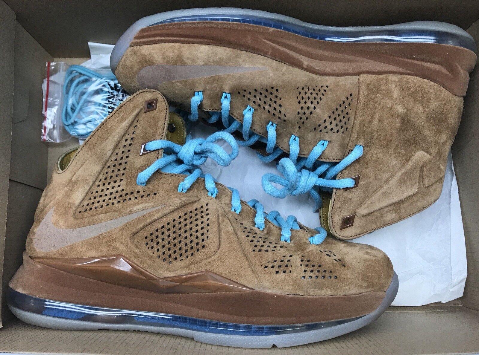 Lebron X 10 EXT QS Hazelnut Blue 8.5 Brown Suede 607078-200 Sz 8.5 Blue 360f73