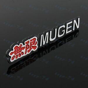 3D MUGEN Car Trunk Spoiler Lip Emblem Badge Sticker Decal Alumnium Red x2
