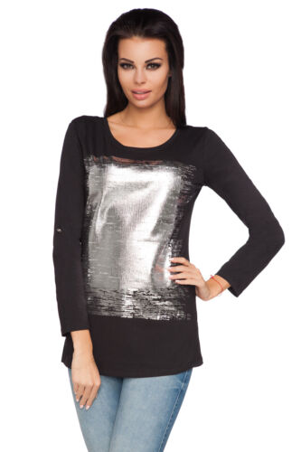 Womens Silver Print Top Lightweight Pullover Sweatshirt Tunic Size 8-12 6628