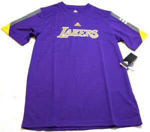 NBA Los Angeles Lakers Adidas Poly Color Block Tee T-Shirt Purple Boys XL 18 New