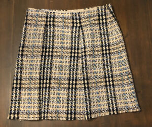 BURBERRY-LONDON-Wool-amp-Cashmere-Plaid-Pleated-Skirt-Women-s-Sz-12-Made-In-Italy