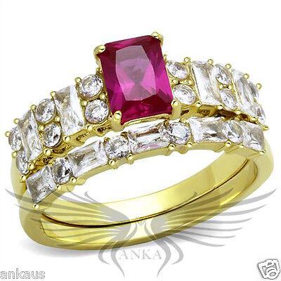 Brilliant 1.0ct Emerald Cut Cubic Zircon CZ AAA Wedding Set 5 6 7 8 9 10 TK2134