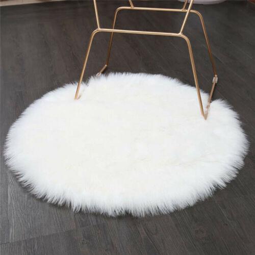 KunstfelI Teppich Weiß Rund 60 cm Schaffellimitat Matte Zimmerteppich hochflor