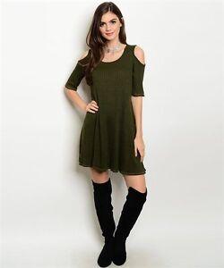 New-USA-Boho-Cowgirl-Cold-Shoulder-Olive-Western-Ribbed-Short-Sleeve-Dress-S-L
