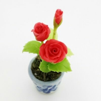 Red Rose Clay Flower Pot Decor Dollhouse Miniature Collectible Garden Handmade